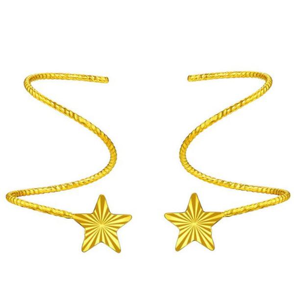 18 Karat Pure Gold Ohrringe Für Frauen Exquisite Elegante Frauen Schmuck Gelb Gold Star Fräulein Mädchen Geschenk Für Geburtstag Heißer Verkauf 0,50