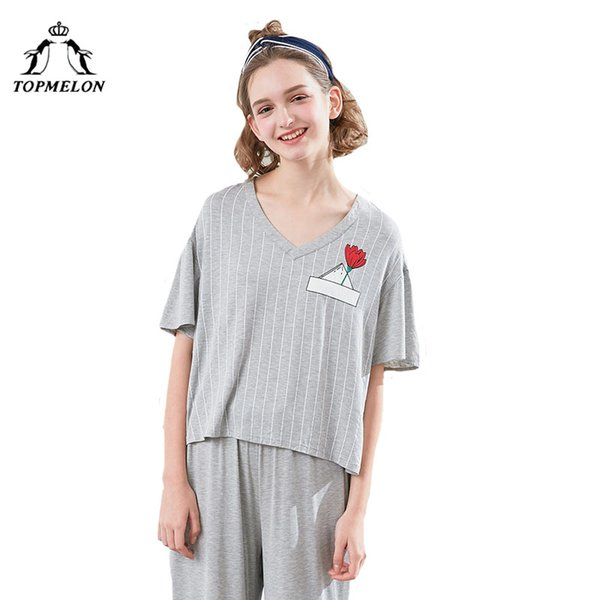 wholesale Flower Print Pajama Set Casual Wear At Home Grey Short Sleeve T Shirt & Shorts for Summer Women Cute Two Piece Clothes