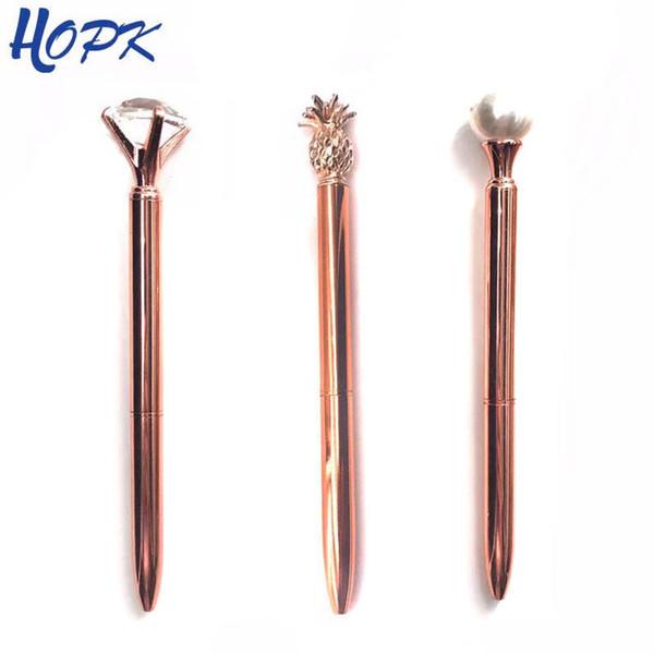 3Pcsset Luxury Rose Gold Ballpoint Pen Pearl Pineapple Pens Diamond rotating Metal Ballpen School Office Supplies Accessories