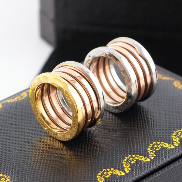 Logotipo da marca nova versão anel de amor de casamento de aço de titânio 3 mix cor casal anel para mulheres homens noivado bulgária jóias