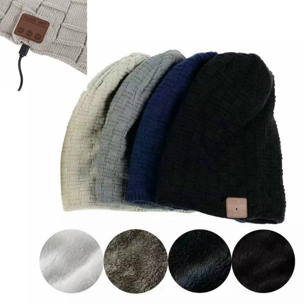Unisexe Hiver Chapeau Hommes Femmes Sans Fil Bluetooth Épais Tricot Bonnet Chapeau Intégré Stéréo Écouteurs Microphone 2018 Gorros MMA772 50 pcs