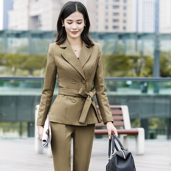 Customized new hot women's suit fashion slim temperament ladies suit female British wind overalls double-breasted suit dress