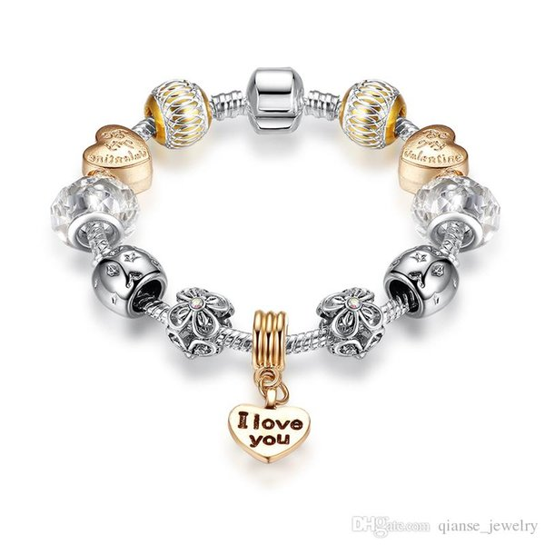 "For Valentine's Gift Rose Gold Heart Pendant Charm Bracelets with Letter ""I LOVE YOU"" European Style Crystal Star Beads Bracel"