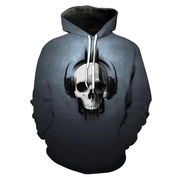 ConMotion Casual Grey Hoodie Music Headphone Skull Print Hombres con capucha KU2026