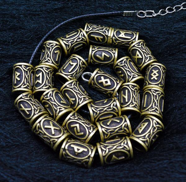 24 Stil Tam Set Viking Runes Charms Boncuk Bulguları Sakal Veya Saç Takı Yapımı Için Bilezikler Için Kolye Kolye