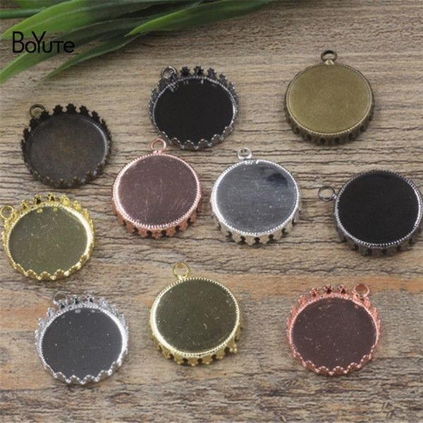 BoYuTe 40Pcs Black Gun Plated Round 15MM 20MM 25MM Cameo Cabochon Base Setting Diy Pendant Charms Blank Tray Jewelry Findings