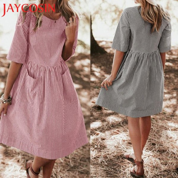 2018 dress Women Half Sleeve Casual Striped Loose Knee-length Pocket Elastic Waist Dress Dropshipping July 30