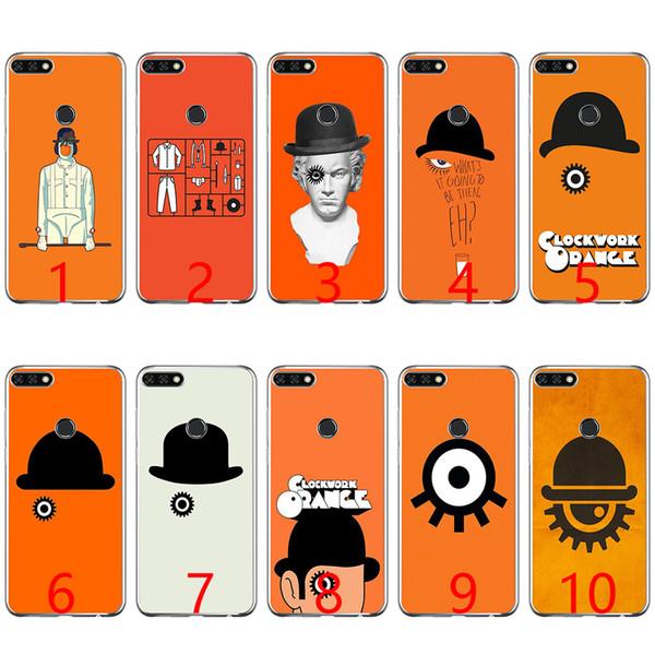 Una caja del teléfono de silicona suave a la moda de color naranja mecánica para Huawei P8 P9 Lite 2015 2016 2017 P10 20 Lite P Smart