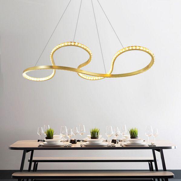 Modern Stylish Gold Aluminium LED pendant lights High quality K9 crystal chandelier Hanging light fixture for dinning living room bedroom