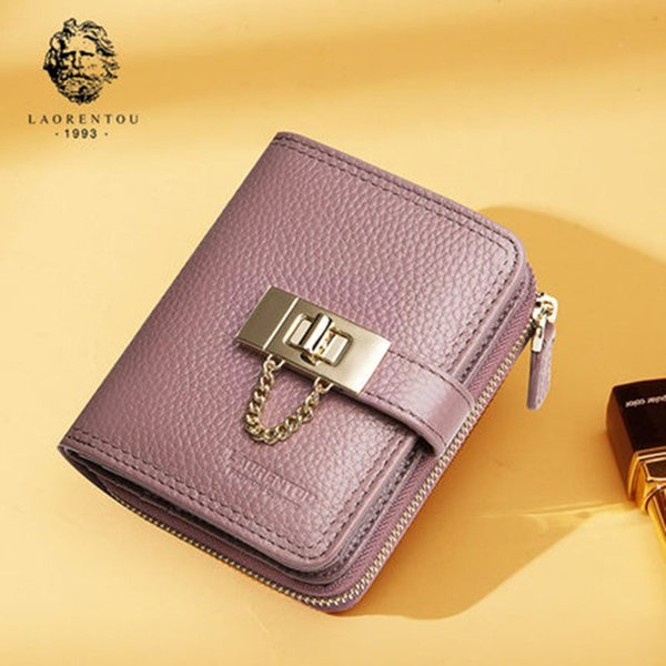 2017 LAORENTOU Brand Casual Solid Cowhide Leather Wallet For Women Fashion Short Lady Wallet Purse European And American Style