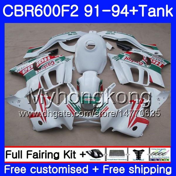 Body For HONDA CBR 600F2 FS CBR600RR CBR600 F2 91 92 93 94 1MY.3 Castrol red CBR600FS CBR 600 F2 CBR600F2 1991 1992 1993 1994 Fairing kit