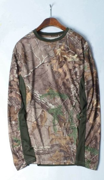 2018 Men Hunting LS T-shirt Camouflage Quick-dry UV Ultra Light Men Hunting Clothes Outdoor Sports Hiking Shirts USA Size XL-XXL