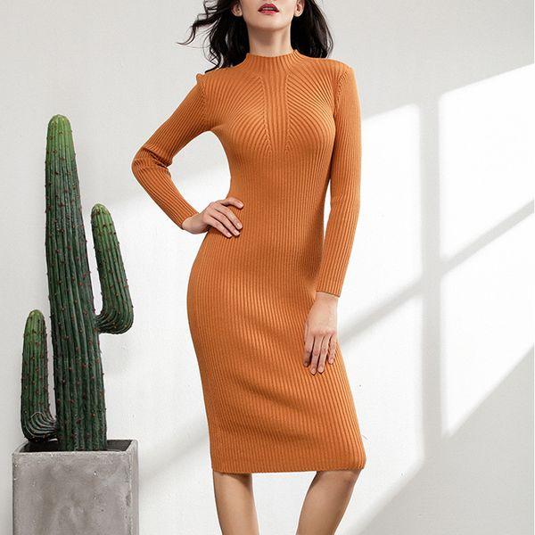 chic autumn winter thick midi sexy slim sweater dress women female bodycon warm dress long sleeve robe basic knitted dress C18110701