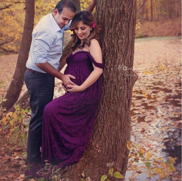 Neue Elegante Spitze Mutterschaft Kleid Fotografie Requisiten Lange Kleider Schwangere Kleidung Phantasie Schwangerschaft Foto Requisiten Schießen