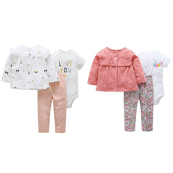 INS baby girl clothing romper 3 pieces set o-neck long sleeve romper + pants + coat spring fall 100% cotton clothes romper