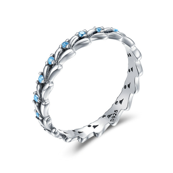 Real 100% 925 Sterling Silver Stackable Ring Wheat Wave & Clear CZ Finger Rings for Women Sterling Silver Jewelry SCR162