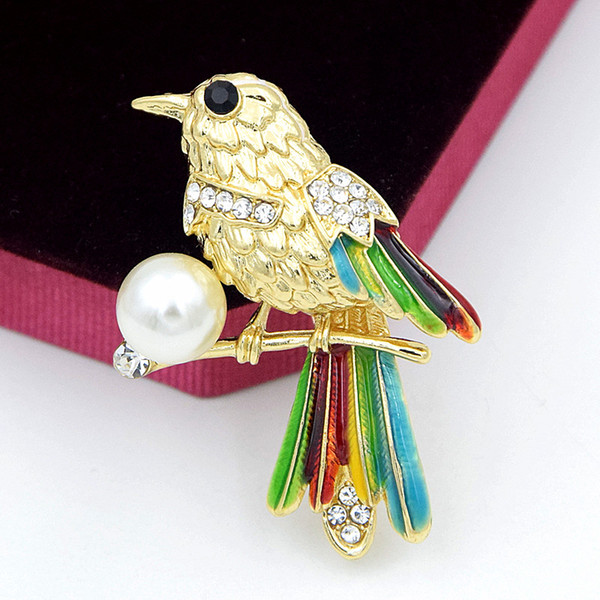High Quality Fancy Gold Alloy Amazing Clear Rhinestone Magpie Brooch Lovely Color Enamel Lucky Bird Brooch Pin Delicate Jewelry Accessories