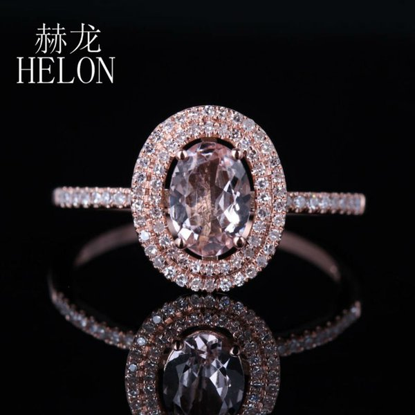 2019 HELON Women's Jewelry 7x5mm Oval 0 62ct Morganite 0 25ct Diamond Two  Halo Engagement Wedding Ring Setting Solid 14K Rose Gold From Bestqueen,