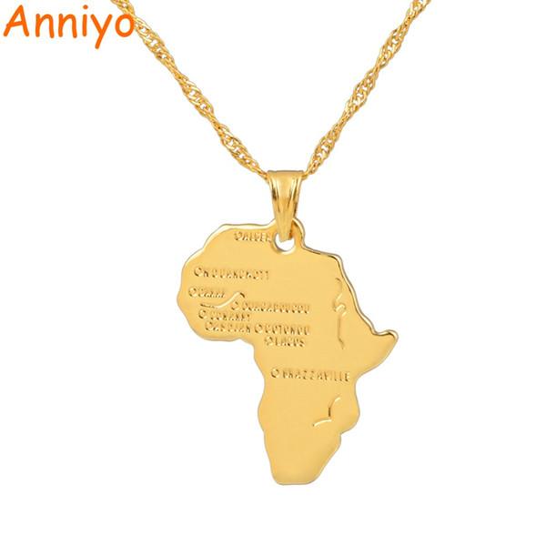 Anniyo 9 Style Africa Collana con ciondolo per donna Uomo Argento / Colore oro Gioielli etiopici Carta africana all'ingrosso per articoli Hiphop