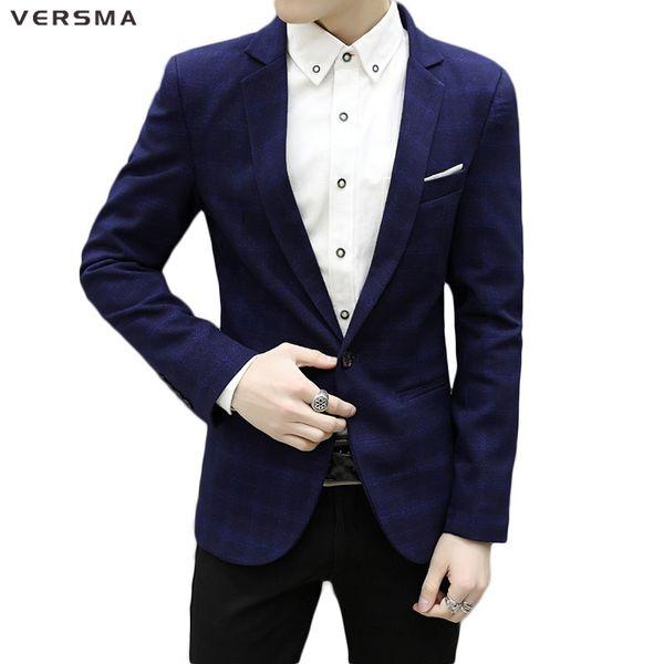 VERSMA 2017 Blue British Check Plaid Blazer Suit Jacket Men Casual Slim Fit Stylish Designer Blazers Suits Korean Style Clothing