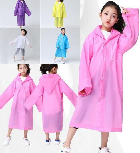EVA Outdoor Rain Wear Kids Travel Translucent Children's Raincoat Not Disposable Kids Hooded Convenient Outdoor Rain Wear