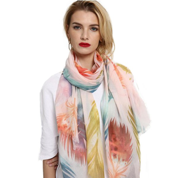 Femme Long Cotton Scarf Scarves Women Shawls Pashmina Wraps For Ladies Color Feather Print Spring Summer Beach Towel
