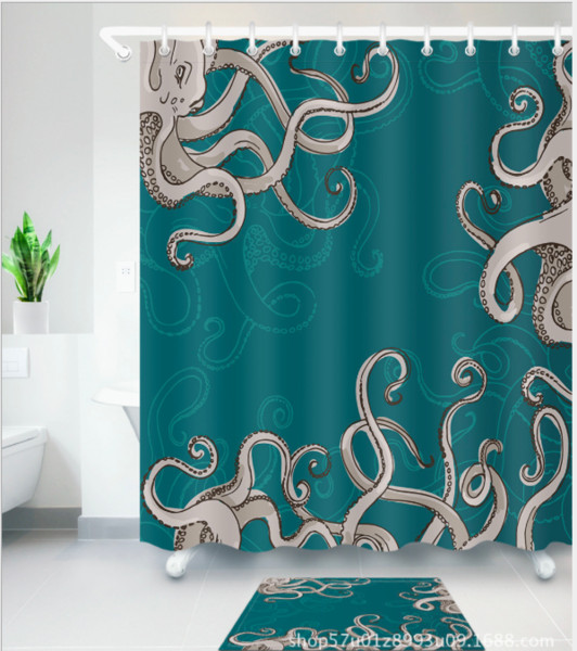 3D Polyester Fabric octopus Pattern Shower Curtains with 12 Hooks For Bathroom Decor Modern Bath Waterproof Curtain floor mats sets