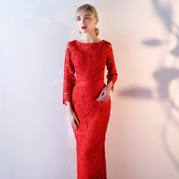 Floor Length Lace Mother of the Bride Dresses Three Quarter Sleeves Fall Winter Long Elegant Party Dress Zipper Back Red,Black,Blue