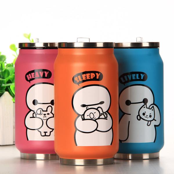 Cute Cartoon My Water Bottle Straw Stainless Steel Cans School Water Bottles For Kids Kettle Shaker Sport Drink Drinking Bottle