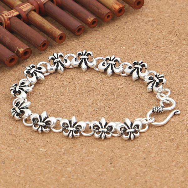 Wholesale S925 Sterling Silver Personalized cross-series Series Anchor Models Men Women Fashion Thai Silver Fine Bracelet