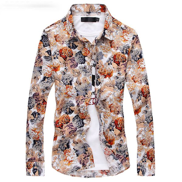 Asstseries Men Shirt New Fashion Mens Floral Shirts Royal Fashion Long Sleeve Camisa Masculina Baroque Fancy Shirts Club Outfits