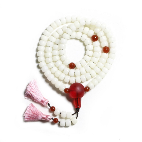 El Yapımı Reg Onyx Triplet Doğal Beyaz Bodhi Kökleri Boncuk 108 Mala Bilezik veya Kolye Budist Namaz Bilezik 2 Pembe Püsküller