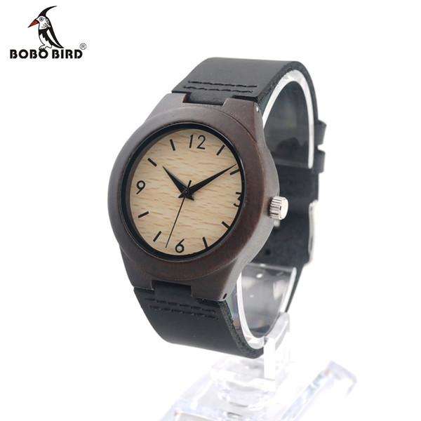 BOBO BIRD E28 Luxury Womens Ebony Wooden Watches Wrist Watch Dress Style Female Ladies Relojes De Marca Relogio Gift