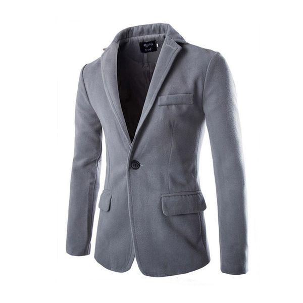 Hommes Blazer Slim Fit Design Vestes Manteau Tissu En Laine 2017 Loisirs Blazers Solide Mode Gentleman Business Costume M-XXL