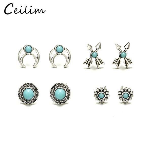 4PCS/Lot Bohemia Star Heart Cross Shaped Small Stud Earrings Set For Women Imitation Retro Vintage Earrings Jewelry Brincos Wholesale