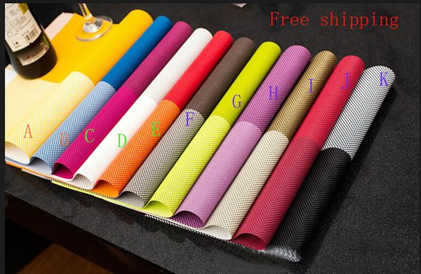 Wholesale- Placemat pvc dining table mat disc pads bowl pad coasters waterproof table cloth pad slip-resistant pad 11color Christmas gifts