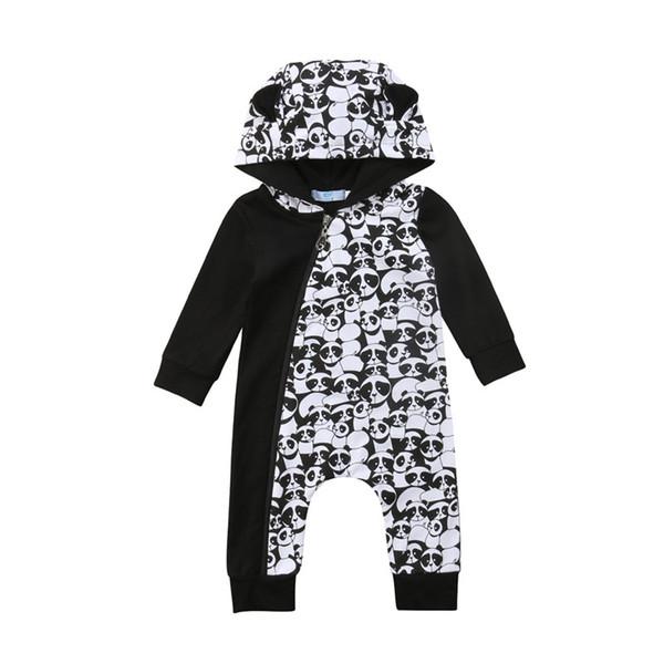 Yenidoğan Erkek Bebek Kız Romper Sonbahar Uzun Kollu Panda Kapşonlu Fermuar Tulum Tulum Kıyafetler Giysileri Erkek Kız Giyim 0-18 M