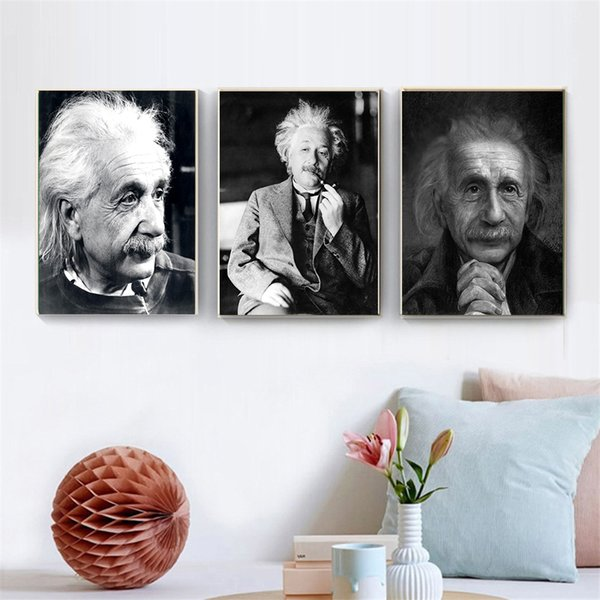 New arrival Famous people Einstein head portrait canvas painting wall pictures for living room decor vintage Posters And Prints