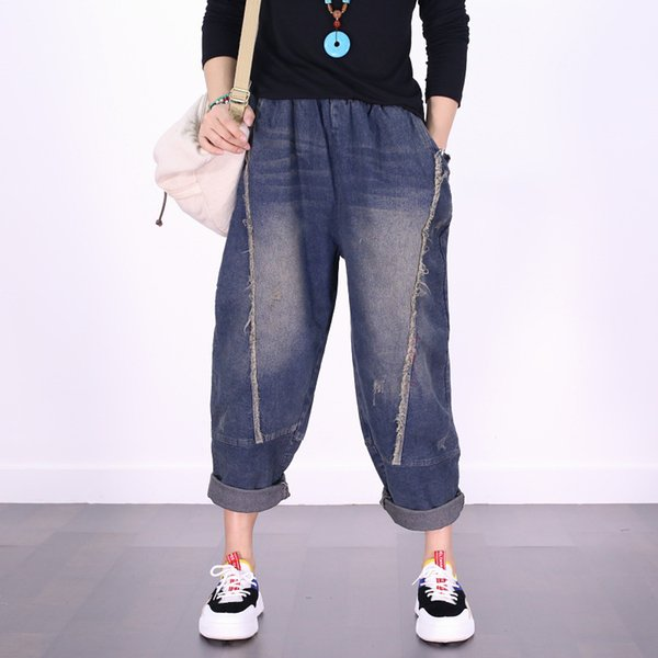 2019 American Baggy Harem Jeans Women Hanging Crotch Joggers Plus Size Drop Crotch Denim Pants Hip Hop Cowboy Wide Leg Trouser 029 From Guchen3,