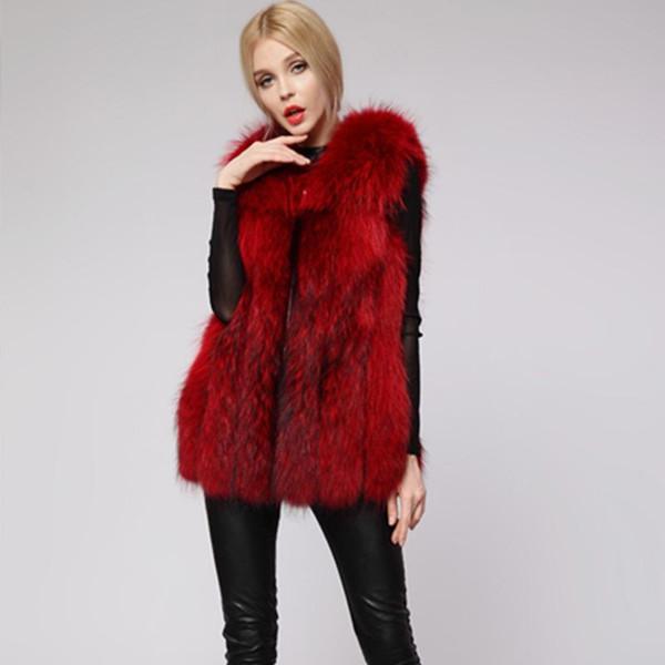 Winter Red 2018 Faux Fur Coat Casual Sleeveless Fake Fur Coat Vest Warm Thicken Women Jacket Female Long Elegant Luxury Coats