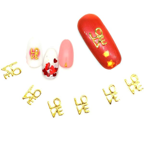 10Pcs LOVE Letter Gold Nail Art Decorations 3d Metal Dekors Japanese Kawaii Nail Supplies Bling Nailart Studs for Manicure Sale