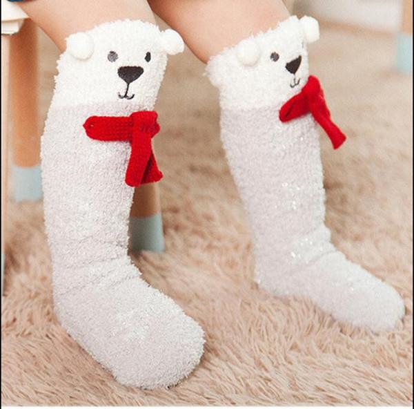 Baby Socks Kids Knee High Socks Anti Slip Hosiery Girls Winter Warm Brand Coral Fleece Stockings Fashion Designer Cartoon Footwear YL778