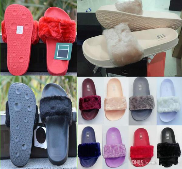 Brand designer-Fenty Rihanna Faux Fur Slippers Women Girls Sandals Fashion Scuffs Black Pink Red Grey Blue Slides High Quality With Box