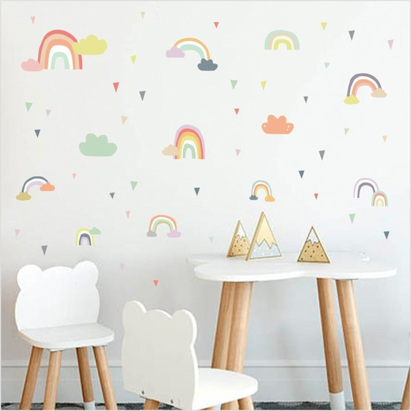 Multi Color Rainbow Cloud Wall Sticker For Baby Bedroom Wall Decoration  Accessories Colorful Raindrop Art Decals Wallpaper Personalized Wall Decals  ...
