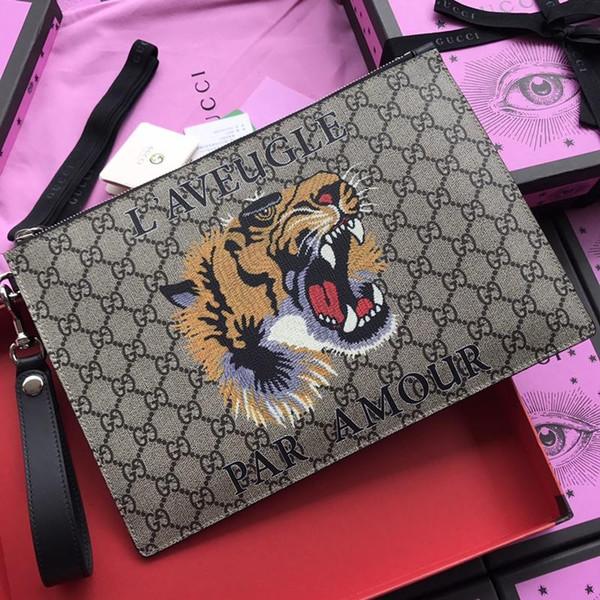 Top Qualität Männer lange tiger geldbörsen mode heißer verkauf Mann brief aus echtem leder handtasche für frauen mit box