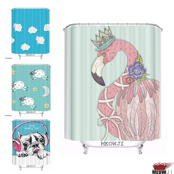 Lovely Cute Animal Dog Sheep cartoon custom Shower Curtain Bathroom decor various sizes Free Shipping
