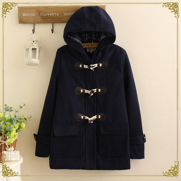 plus récent 002bf 63c9f 2019 Duffle Coat Long Turn Down Horn Button Hooded Collar Woolen Overcoat  Wide Waisted Manteau Femme Out Wear Winter Coats 11122 From Liangcloth, ...