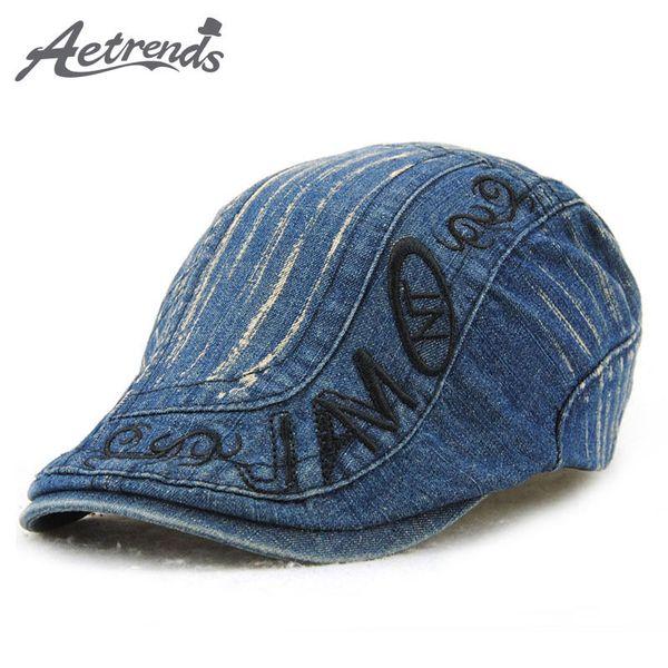 [AETRENDS] 2017 New Brand Denim Beret Hats for Men Women Beret Visor Caps Z-5209