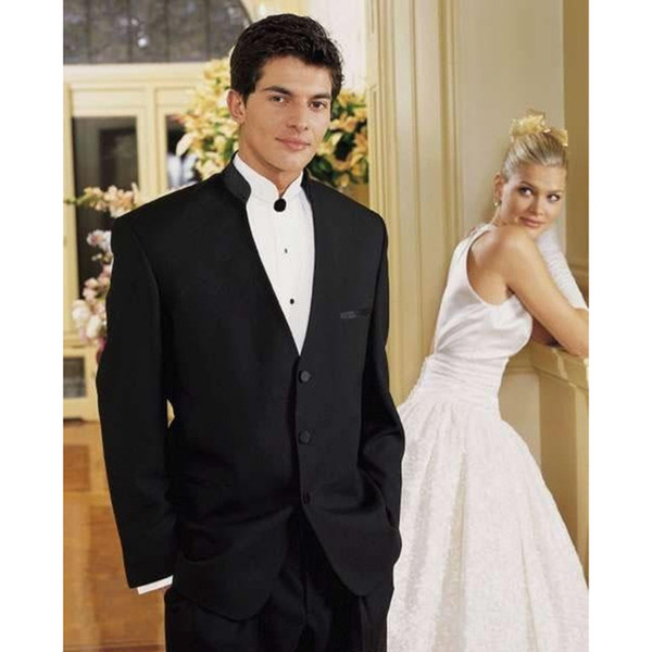 Three Buttons Chinese collar Fit Black Groom Tuxedos Wedding Party Groomsman men suit Wedding Party Suits ( jacket+Pants+tie)