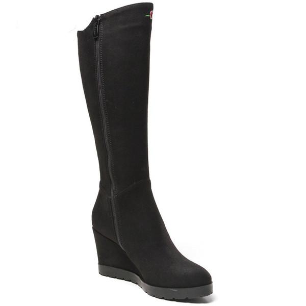 Forme Compensées Pour Imperméable Noir Tissu Brodées Chaussures Bottes Plate Daim Hautes Chaussures En Bottes Mince Bottes Femmes Acheter En Femmes by76fg